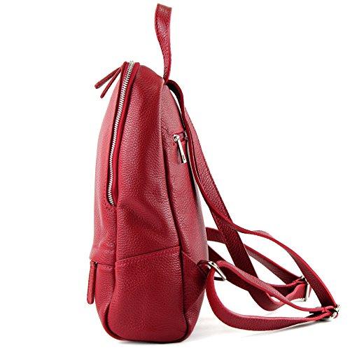 Modamoda De - Ital. Zaino In Pelle Donna Zaino Zaino Borsa City Bag In Pelle T138 Rosso Scuro