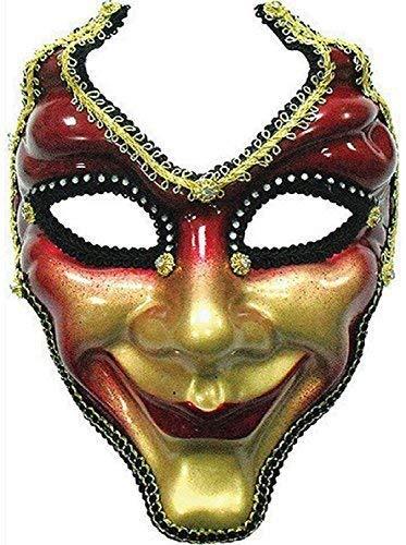 Fancy Me Herren Erwachsene Rot Gold Hofnarr Maskenball Mardi Gras Karneval Halloween Halbschuhe Kostüm Outfit Maske
