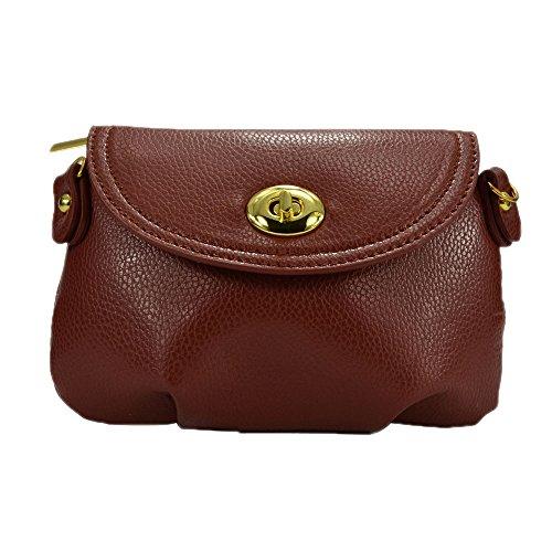 DELEY Frauen Vintage Europa Stil Mini Hobo Tote Handtasche Schultertasche Umhängetasche Braun