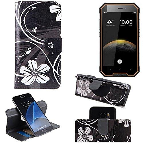 K-S-Trade® Schutzhülle Für Blackview BV4000 Pro Hülle 360° Wallet Case Schutz Hülle ''Flowers'' Smartphone Flip Cover Flipstyle Tasche Handyhülle Schwarz-weiß 1x