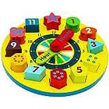 forma de madera del reloj clasificación / reloj de madera con los números y las formas de reunir bloques