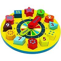 Toys of Wood Oxford Juguete de reloj de madera - Reloj de madera de enseñanza con piezas de números para caber y mirar para ganar el tiempo - Reloj de rompecabezas para niños
