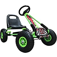 Kiddo Racer Design Green Kids Childrens Pedal Go-Kart Ride-On Car, Adjustable Seat, Rubber Tyres - Suitable For 4 to 8 Years - New