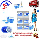 """A to Z Sales Magic Spin Mop 360° Rotating Pole & Bucket """"No Foot Pedal"""" with 2 Microfiber Heads and Plastic dryer"""