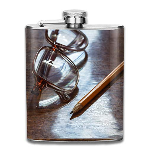 flagon of wine High Quality Stainless Steel Flasks 7 Oz Old-pensioner-glasses-on-lacquered-wooden-surface Whiskey Flask Hip Flask Leak Proof Wine Men Women