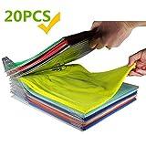 Organizador de Armario Hogar Estantería Camiseta Carpeta Sistema Antiarruga, Tamaño Normal, Transparente (20Pack)