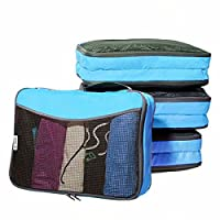 �?? Easy to Organise Lightweight Packing Cubes with 2 Pockets - Organisers for Suitcase Backpack Rucksack and other Luggage - Quality Travel Organiser Accessories by OW-Travel (4 Medium, Sky Bue)