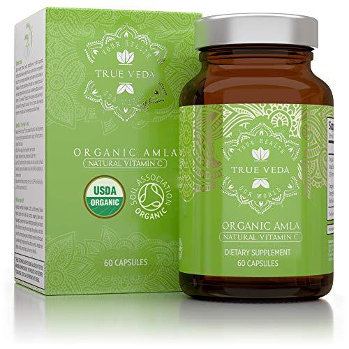 Bio Amla Vitamin C Kapseln - Bio-Siegel | Kraftvolle Natürliche Quelle an Vitamin C | Ayurveda | Superfood | 60 Vegetarische Pillen Einfach zu Schlucken