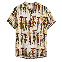 ♛2019 Clearance Sale♛ - Chamery Summer Shirt for MenMens Ethnic Short Sleeve Casual Cotton Linen Printing Hawaiian Shirt Blouse(Yellow,M)