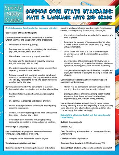 Common Core State Standards: Math And Language Arts 2nd Grade (Speedy Study Guides)