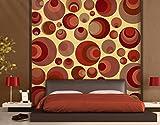 Selbstklebende Fototapete Jolly Balls Tapete Retro Kreise Abstrakt 70er Jahre, Größe:380cm x 360cm