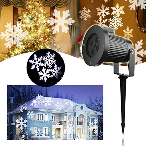 or LED Lichteffekt – VIDEN Weihnachtsbeleuchtung LED Projektor Lampe, Außen / Innen Wasserdicht IP65, Dynamische Motive, Landschaft Licht mit Weißen Schneeflocken Projektionslampe ()