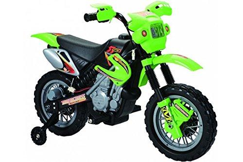 Bicicleta de 6 V para niños, Estilo Moto de Cross, Color Verde (Producto con Enchufe de UK)