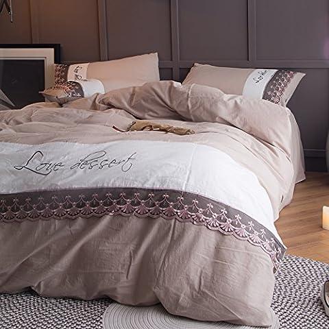 Super Doux Parure de lit/Parure de lit Collection, anti-rides, Fade et résistant aux taches, lavable en coton pur coton minimaliste Parure de lit Collection, Queen, Ash Camel