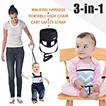 Umiin 3-in-1 Portable/Travel High Chair + Toddler Safety Walking Harness + Shopping Cart Safety Strap,Lightweight & Washable (Navy Chevron)