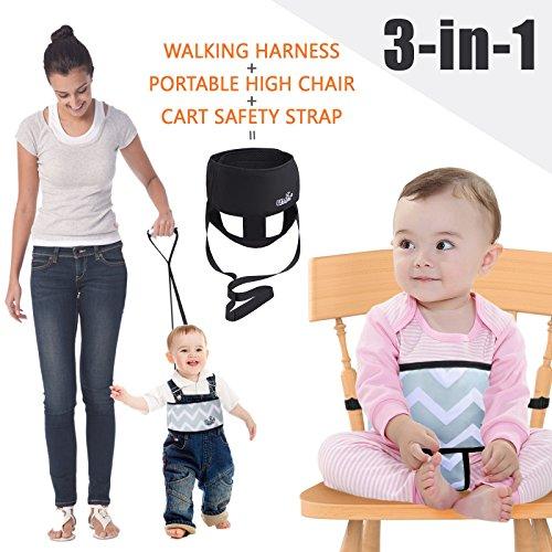 Umin 3-in-1 Tragbarer / Reisefähiger Kinderhochstuhl + Sicherheitsleine für Kleinkinder + Schutzgurt für den Einkaufswagen, leicht & waschbar, Schwarz