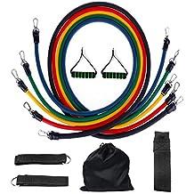 AZLife - Set da 11 pezzi composto da 5 tubi elastici resistenti per palestra, esercizio, pilates, yoga, allenamento crossfit, fitness e allungamento, 2manici, 2cinturini da caviglia, 1 fissaggio per porta e 1 borsa per il trasporto