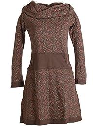 Vishes - Alternative Bekleidung – Bedrucktes Kleid aus Baumwolle mit Schalkragen