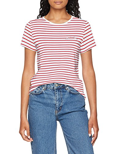 ONLY Damen T-Shirt onlKITA S/S Riviera TOP Box JRS Weiß (Bright White Print: Speak1 (Flame Scarlet Stripes)) 34 (Herstellergröße: XS)