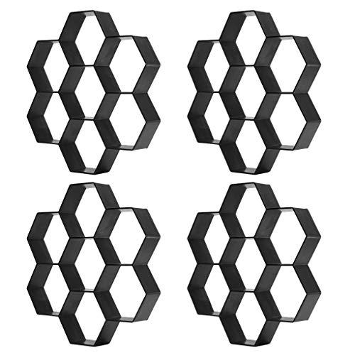 PETSOLA 4 Stücke Garten Pflasterform Diy Path Maker Pathmate Steinform 7 Hexagon Solide Konstruktion & Viel Bessere Qualität