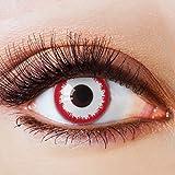 Farbige Kontaktlinsen Ohne Stärke mit Motiv Weiße Linsen Weiße Jahreslinsen Halloween Fasching Cosplay Kostüm Bloodshot Zombie Vampir Weiß Ro