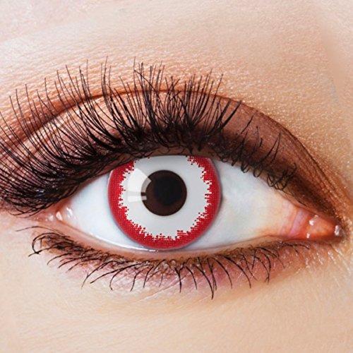 Farbige Kontaktlinsen Ohne Stärke mit Motiv Weiße Linsen Weiße Jahreslinsen Halloween Fasching Cosplay Kostüm Bloodshot Zombie Vampir Weiß Rot