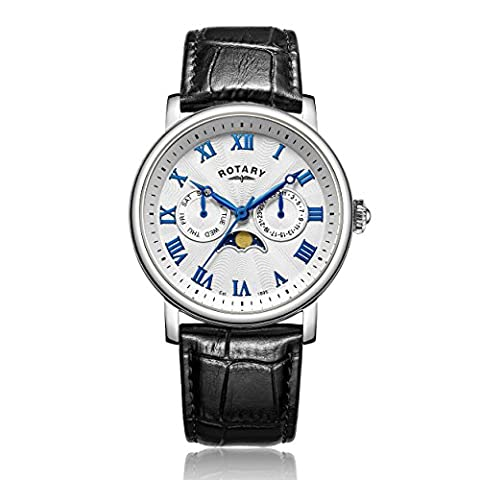 Rotary Men's Quartz Watch with Silver Dial Chronograph Display and Black Leather Strap GS00341/21