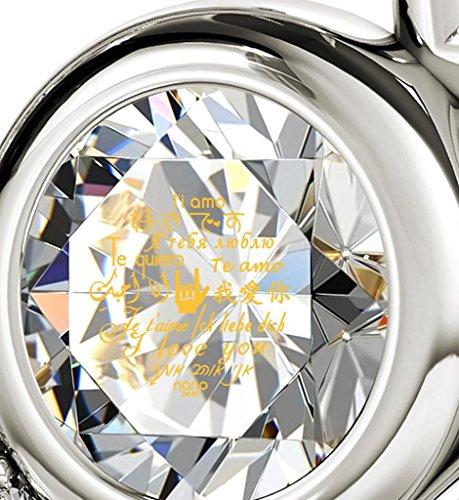 Pendentif Coeur - Bijoux en Argent Fin avec Je t'aime en 12 langues inscrit en Or 24ct sur un Cristal Swarovski, 45cm - Bijoux Nano Transparent