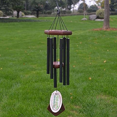 Unique Wind Chimes–50,8cm 6tubes en métal Wind Chimes Beautiful Home Decor Carillon pour usage intérieur et extérieur–Cadeau pour jardin terrasse balcon porche cour Noir, noir