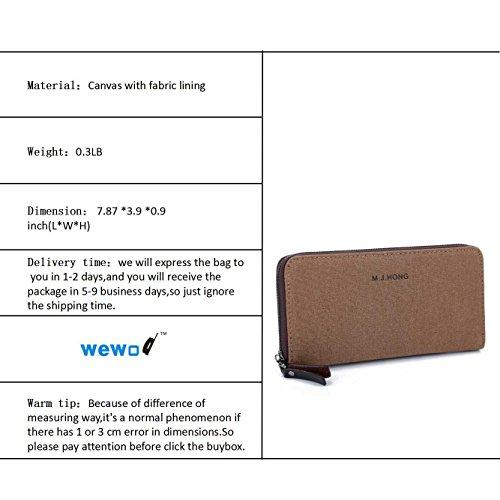 Wewod Wiederherstellung der alten Wege Münze Geldbeutel Front Tasche Geldbörse für Männer Canvas Material Hobo Stil Zip-Verschluss (Braun) Braun