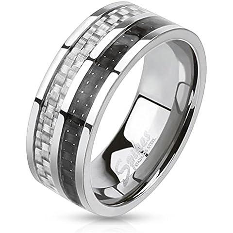 Paula & Fritz® Anillo de acero inoxidable acero quirúrgico 316L Plata Negro 8mm de ancho Carbon Line Carbon Inlay Ring tamaños 60(19)–72(23) R de m0025
