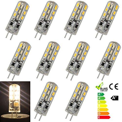 GreenSun 10er-Pack G4 Stiftsockel 1.5W LED Energiesparlampe Glühbirne 24*3014SMD Leuchtmittel Birne Lampe Warmweiß 360º Abstrahlwinkel DC 12V