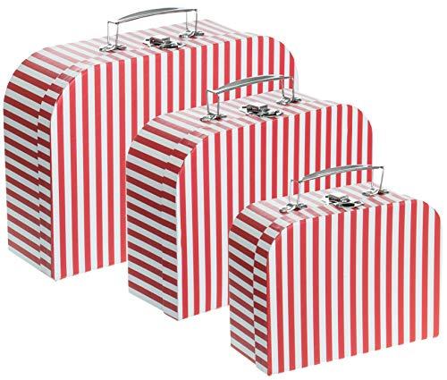 kbox Aufbewahrungsbox Koffer mit Griff - Stabiler Karton - 3er Set in absteigender Größe - Streifen Rot ()