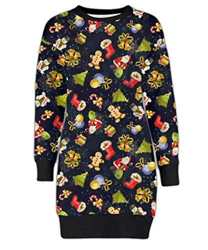Mymixtrendz. Damen Damen Weihnachten Rentier Wand Ho Ho Santa Schneemann Weihnachten Pullover Kleid Sweatshirt (2XL (EU 48-50), Gingerbread ()