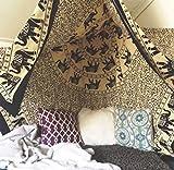 Wandbehang / Wandteppich, Ethnisch, Psychedelisch, indisches Mandala, Hippie, Elefant, zum Aufhängen, Böhmische Dekoration, Schwarz und Beige, für Wohnzimmer feine Baumwolle, gesäumte Kanten