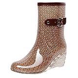 YWLINK Botas De Lluvia Mujer Botas De Nieve Estilo Punk TamañO Grande Zapatos con CuñA Transparentes Zapatos De Goma Zapatos De Agua Transpirable Calzado Industrial ConstruccióN(Caqui,40EU)