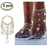 bohemian Silbermünze Fußkettchen , Sexy Blessing Symbol Quaste Fußkettchen Boho Vintage Strand Fußkettchen 1 Paar Fuss-Schmuck (Golden)