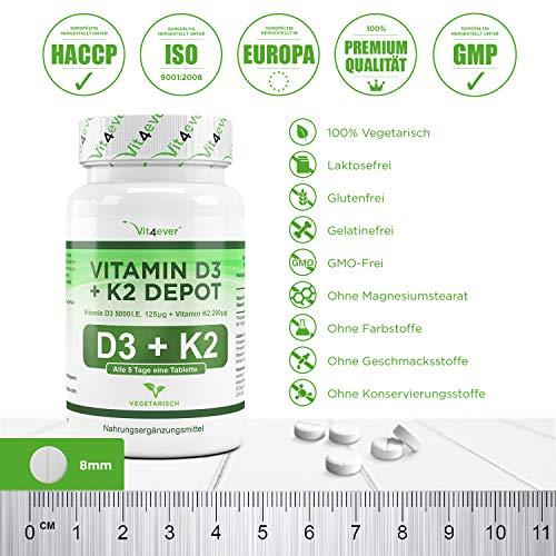 Vitamin D3 5000 I.E + Vitamin K2 200mcg Menaquinon MK7 Depot – 180 Tabletten – Alle 5 Tage eine Tablette, Vegetarische Tabletten Vit4ever - 4