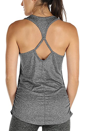 icyzone Damen Yoga Sport Top Lang - Fitness Gym Laufen Shirt Running Tanktop Vest (L, Charcoal)