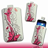 Handy Tasche Etui Hülle Case weiß / pink Butterfly DK11 Gr.3 für LG Optimus L5 II E460 / LG Optimus L7 II P710 / Mobistel Cynus F3 / Blackberry Q10 / HTC First / Huawei Ascend W1 / Huawei Ascend Y300 / LG Optimus F5 P875 / Base Lutea 3