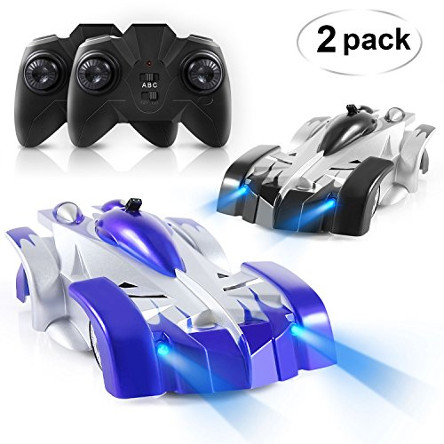 SGILE Remote Control Car - Set of 2 Wall Climbing Climber Car Toy, Rechargeable Dual Mode 360� Rotating Stunt Racing Vehicle, Birthday Gift for Kids Boy Girl, Black & Blue