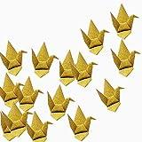 Hangnuo glitter Paper origami gru ghirlanda ornamento fai da te a mano con filo di seta invisibile per festa di nozze Scenografia decorazione domestica, gold, oro