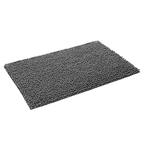 Langria tappeto tessuto a pelo lungo e stile ispido con base antiscivolo grip soil super assorbente sala d'ingresso soggiorno bagno camera (50 x 80 cm, grigio scuro)