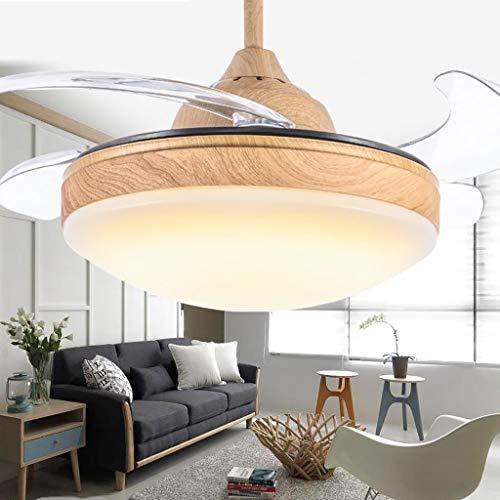 TXDZ Ventiladores de techo invisibles con lámpara LED, luces de madera para...
