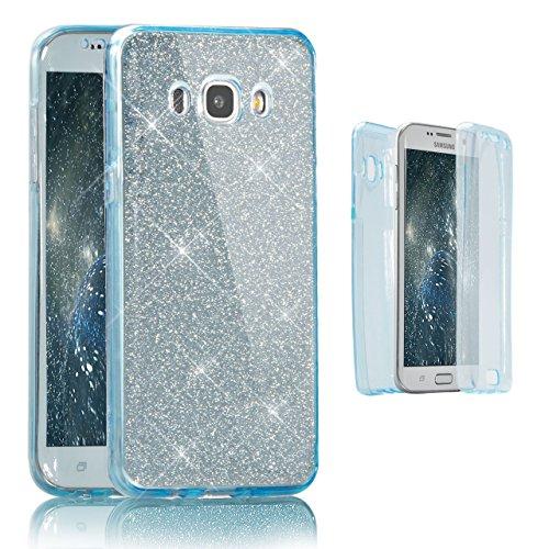 Samsung Galaxy J7 (2016 Version) Coque Gel TPU Silicone Etui Intégrale Transparent Case pour Samsung Galaxy J7 (2016 Version) Housse Protection Full Silicone Souple Case, Vandot Samsung Galaxy J7 (201 Paillette-Bleu