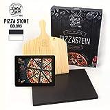 Dolce Mare® Piastra refrattaria Forno - Pietra per Pizza in Cordierite di Alta qualità per Forno e Grill - Pala per Pizza Inclusa (Black)