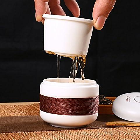 Qileyin Qly013150ml Feuilles de thé en céramique Tasse à thé avec système de préparation–3Pièces Infuseur Tasse avec couvercle 150ml a