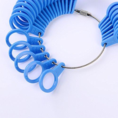 Shappy 27 Stück Kunststoff Ringgröße Messgeräte A-Z Finger Sizer Messung Ring Schmuck Werkzeugsatz (Blau) - 4