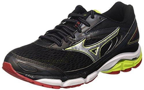 Mizuno Wave Inspire, Zapatillas de Running Para Hombre, Multicolor (Black/Silver/Limepunch), 43 EU