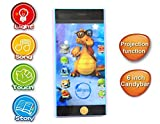 Akhand Musical 6 Inches Learning Touch Mobile Toy for Kids with Songs, Stories and Projectiion